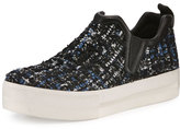 Ash Joy Tweed Platform Skate Sneaker, Black/Blue