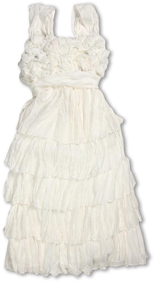 Biscotti Blushing Rose Crinkle Chiffon Dress (Big Kids) (Ivory) - Apparel