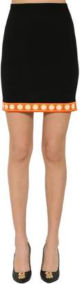 Moschino High Waist Virgin Wool Knit Mini Skirt
