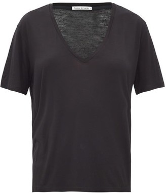 FRANCES DE LOURDES Frankie V-neck Jersey T-shirt - Black
