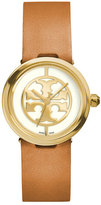 Tory Burch 28mm Reva Leather-Strap Watch, Tan/Golden