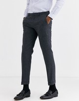 Shelby & Sons slim suit trouser with turn up leg in grey