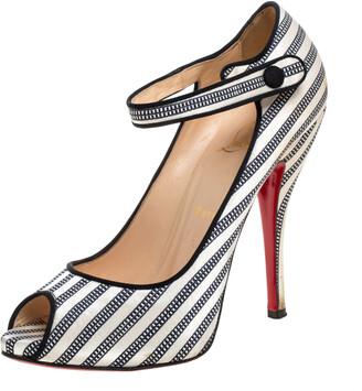 Christian Louboutin White/Black Satin Peep Toe Mary Jane Pumps Size 38