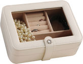 Mele Rio Faux-Leather Glass-Top Ivory Jewelry Box