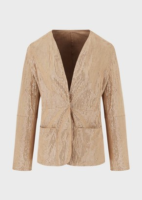 Emporio Armani Perforated Suede Kidskin Jacket With Lurex Yarn
