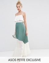 Asos Pleated Maxi Skirt with Sheer Insert Detail