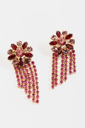 francesca's Juliet Jewel Flower Statement Earrings - Magenta