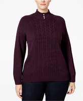 Karen Scott Plus Size Cable-Knit Mock-Neck Sweater, Only at Macy's