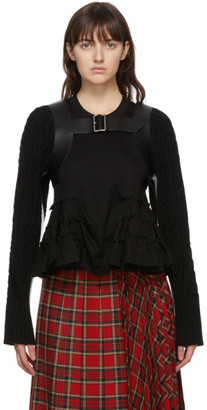 Noir Kei Ninomiya Black Wool and Leather Cable Knit Cardigan