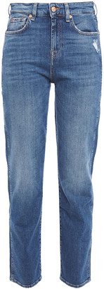 7 For All Mankind Erin Distressed Mid-rise Slim-leg Jeans