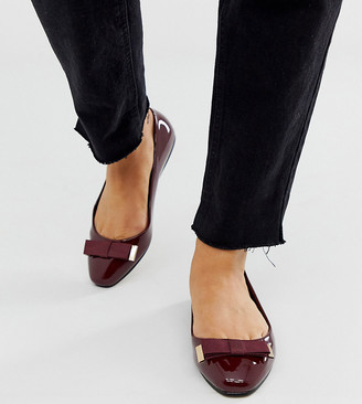 Asos DESIGN Wide Fit Lexy bow ballet flats in oxblood