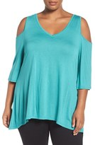 Sejour Plus Size Women's Cold Shoulder Top