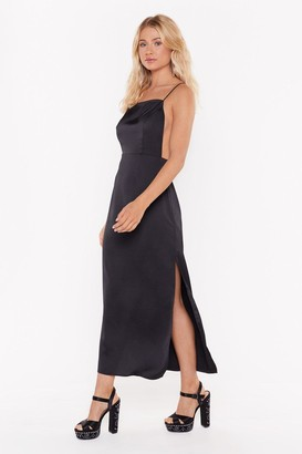 Nasty Gal Womens Square's the Party Satin Midi Dress - black - 6