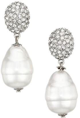 Kenneth Jay Lane Crystal & Glass Pearl Drop Earrings