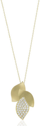 Carelle Lotus Diamond Pave 3-Leaf Pendant Necklace
