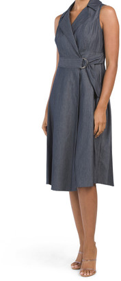 Stretch Denim Shirt Wrap Dress