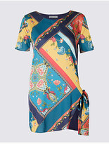 Per Una Satin Printed Tie Side Short Sleeve Tunic