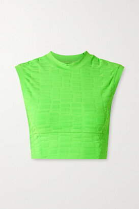 Twenty Montreal Rothko 3d Cropped Stretch Jacquard-knit Top - Bright green