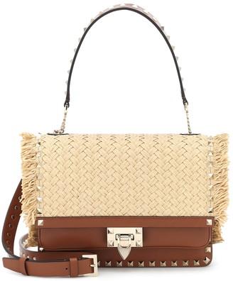 Valentino Garavani Rockstud raffia and leather shoulder bag