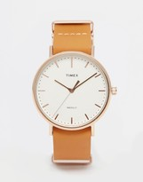 Timex Weekender Fairfield Leather Watch In Brown Tw2p91200