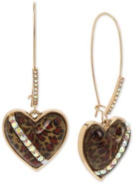 Betsey Johnson Gold-Tone Crystal Leopard Animal-Print Heart Drop Earrings