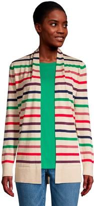 Lands' End Women's Draped Open-Front Long Cardigan Sweater