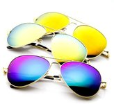 Zerouv Classic Metal Teardrop Color Mirror Lens Aviator Sunglasses w/ Spring Hinges