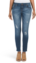 Destructed Ankle Jeans With Frey Hem