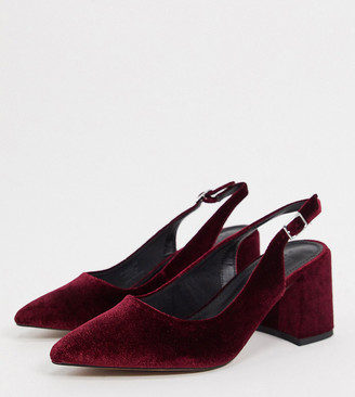 ASOS DESIGN Wide Fit Sammy slingback mid heels in burgundy velvet