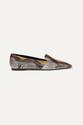 AEYDĒ Aurora Snake-effect Leather Loafers - Snake print