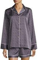 Natori Labyrinth Satin Short Pajama Set, Dark Blue