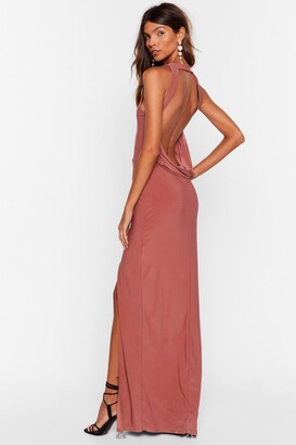 Nasty Gal Womens Cowl Back Later Slit Maxi Dress - Dusty Rose