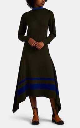 Sacai Women's Striped-Satin-Inset Wool Sweaterdress - Dk. Green