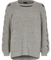 River Island Womens Grey ribbed knit cut out sweater