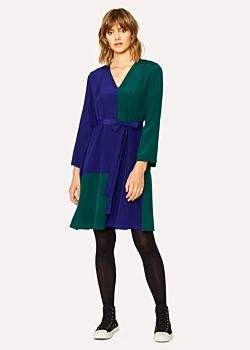Women's V-Neck Cobalt Blue And Green Colour Block Dress