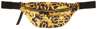Versace Jeans Couture Black and Yellow Baroque Belt Bag