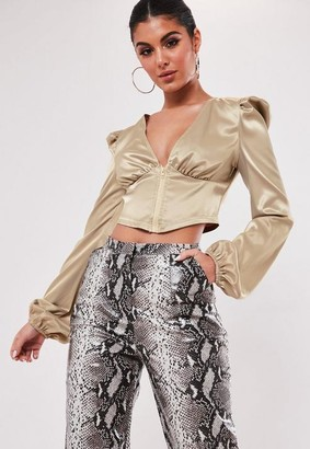 Missguided Champagne Zip Front Puff Sleeve Blouse
