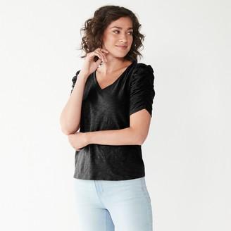 Nine West Women's V-Neck Puff-Sleeve Top