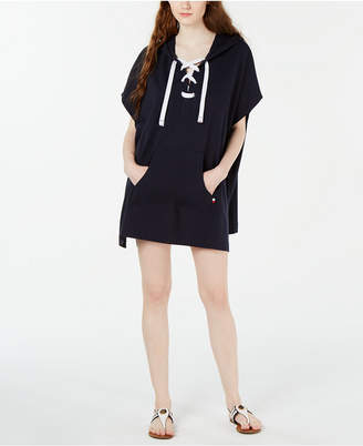 Tommy Hilfiger Lace-Up Hooded Poncho Cover-Up Women Swimsuit