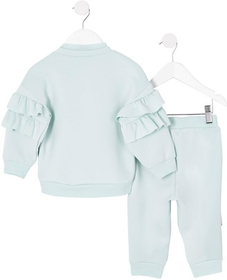 River Island Mini Mini Girls Frill Scuba Tracksuit-Mint