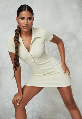 Missguided Green Ribbed Button Front Mini Dress