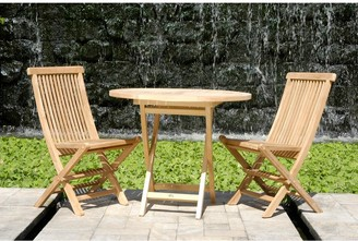Chic Teak California Teak Wood Folding Outdoor Patio Side Chair