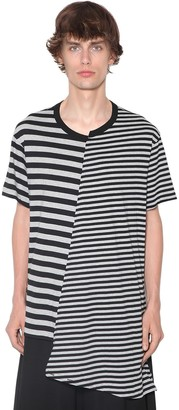 Yohji Yamamoto Asymmetric Striped Mix Cotton T-Shirt