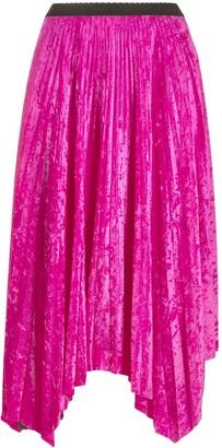 Marine Serre Color-Block Asymmetric Pleated Skirt