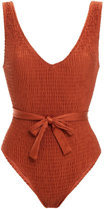 Solid & Striped The Michelle Tie Belted Smocked Swimsuit