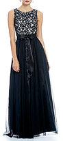 Jessica Howard Sleeveless Inset Waist Shirred Skirt Dress