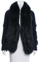 Roberto Cavalli Fox Fur-Trimmed Wool & Cashmere-Blend Cardigan