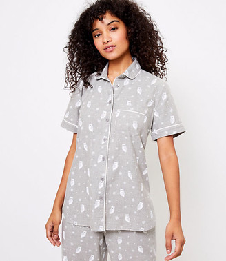 LOFT Owl Pajama Top