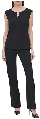 Calvin Klein Sleeveless Top w/ Button Keyhole (Black) Women's Clothing