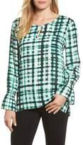 Chaus Plaid Ruffle Sleeve Blouse
